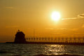Grand haven lightouse at sunset in the early spring Royalty Free Stock Image