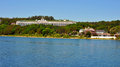 Grand hotel from the water mackinac island s and other buildings seen off shore Stock Images