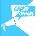 Grand opening banner. Gramophone with text, on a white blue background