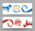 Grand opening banners with abstract red and blue ribbons Royalty Free Stock Photo