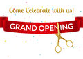 Grand Opening design template with ribbon and scissors. Grand open ribbon cut invitation. Royalty Free Stock Photo