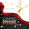 Grand opening. Golden confetti and scissors cutting red silk ribbon, inauguration ceremony banner, opening celebration Royalty Free Stock Photo