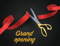 Grand opening illustration with red ribbon and gold scissors isolated on black.