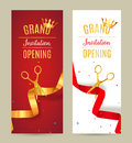 Grand Opening invitation banner. Golden and red Ribbon cut ceremony event. Grand opening celebration card