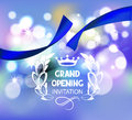 Grand opening invitation card with blue ribbon