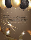 Grand opening invitation with curly ribbon, scissors and gold and black air balloons.