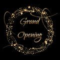 Grand opening lettering. Sparkling banner with gold sparkles. Text composition with golden paint dots splashes.. Elegant
