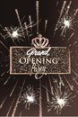 Grand opening party banner with sparkling frame and fireworks Royalty Free Stock Photo