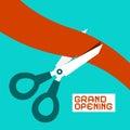 Grand Opening. Scissors Cutting Ribbon Royalty Free Stock Photo