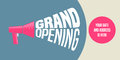 Grand opening vector background with megaphone and lettering sign