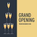 Grand opening vector banner. Tower of glasses with champagne design