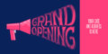 Grand opening vector illustration with mouthpiece and lettering