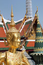Grand palace bangkok thailand the golden statue at Stock Photography