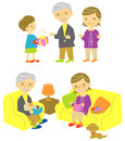 Grand parents and grand son gift for grandparents sofa Stock Images
