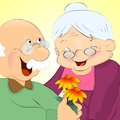 Grand parents romance funny cartoon portrait of an old woman and man Stock Photography