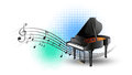 Grand piano with music notes in background Royalty Free Stock Photo