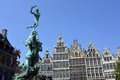 Grand place in antwerp the famous with the statue of brabo Stock Images
