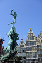 Grand place in antwerp the famous with the statue of brabo Royalty Free Stock Image