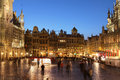 Grand place brussels belgium night scene of the the focal point of Stock Photos