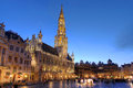 Grand place brussels belgium wide angle night scene of the the focal point of the town hall hotel de ville is dominating the Royalty Free Stock Photo