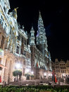 Grand place in Brussels at dark night Royalty Free Stock Photo