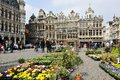 Grand place in brussels flower market on belgium Stock Photos