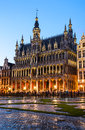 Grand place bruxelles belgium night image with grote markt and maison du roi built in Royalty Free Stock Photography