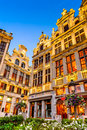 Grand place bruxelles belgium th august twilight image with in brussels grote markt and medieval architecture house facades Royalty Free Stock Photos