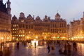 Grand place in bruxelles night scene with illuminated buildings historical center of Stock Photos