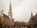 Grand place bruxelles with town hall hotel de ville of brussels Stock Photography