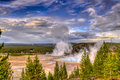 Grand prismatic geyser from above at sunset photographed the hill Royalty Free Stock Photography