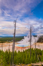 Grand prismatic geyser from above at sunset photographed the hill Royalty Free Stock Images