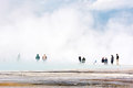 Grand prismatic spring yellowstone usa september people at the in on unidentified Stock Image