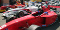 A grand prix cars aligned on brands hatch paddocks formula palmer audi series Stock Images
