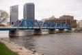 Grand Rapids Michigan Downtown City Skyline Waterfront Bridge Royalty Free Stock Photo