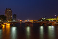 Grand rapids at night downtown michigan in the summer Royalty Free Stock Images