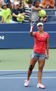 Grand slam champion na li after wining first round new york august match at us open against olga govortsova at billie jean king Royalty Free Stock Photography