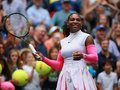 Grand Slam champion Serena Williams of United States celebrates victory after her round three match at US Open 2016