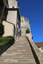 Grand stairway toward episcopal city in rocamadour france pilgrims climbed the steps of the via sancta on their knees and said Royalty Free Stock Images
