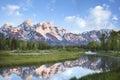 Grand Teton mountains in morning light Royalty Free Stock Photo