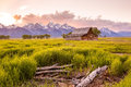 Grand teton mountains wyoming vintage barn sits in front of the Royalty Free Stock Image