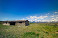 Grand teton national park historic cabins with mountains Royalty Free Stock Photos