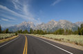 Grand teton national park road asphalt in in wyoming usa Stock Photos