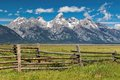 Grand Tetons and corral fence Royalty Free Stock Photo
