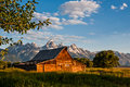 Grand Tetons and old barn Royalty Free Stock Photo