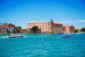 Grande canal in venice and red building Royalty Free Stock Images