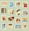 Grande jogo de selos de porte postal Fotografia de Stock Royalty Free