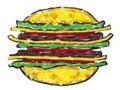 Grande panino dell'hamburger isolato Fotografia Stock
