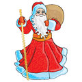 Grandfather frost santa claus on a white background with bag and stick Royalty Free Stock Photography