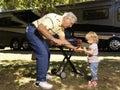 Grandfather and girl Stock Photography